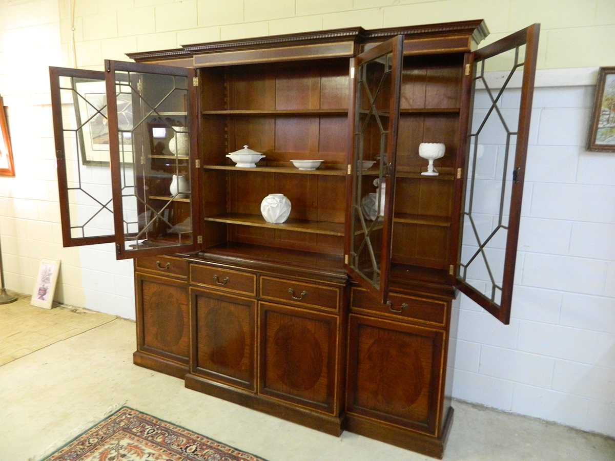 Antique Early Breakfront China Cabinet With Inlay