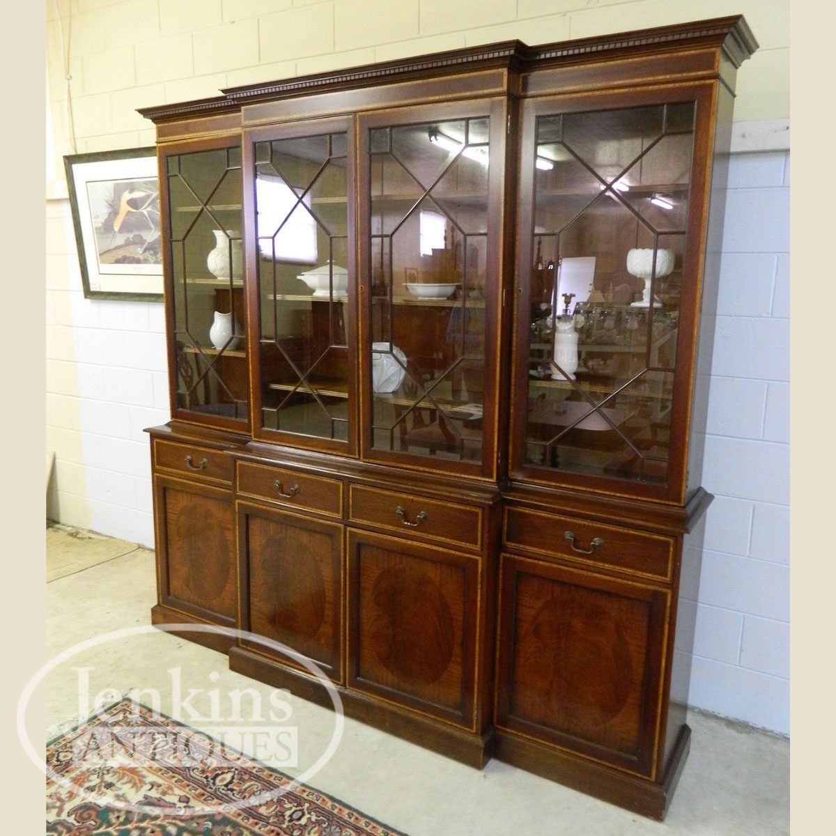 Antique Early Breakfront China Cabinet