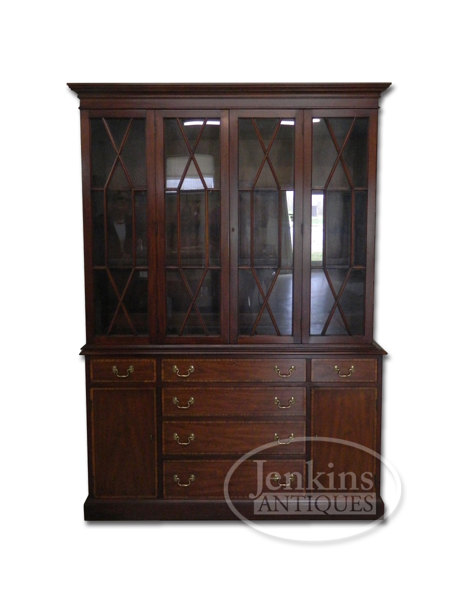 Henkel Harris Banded Mahogany Lighted Breakfront China Cabinet offered by Jenkins Antiques