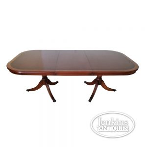 Banded Mahogany Double Pedestal Table